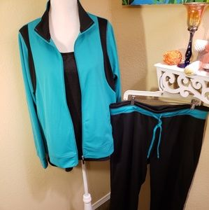 2pc Turquoise & Black Outfit